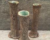 Tree Trunk Bud Vase Set of 3 in Ash Brown - Stoneware