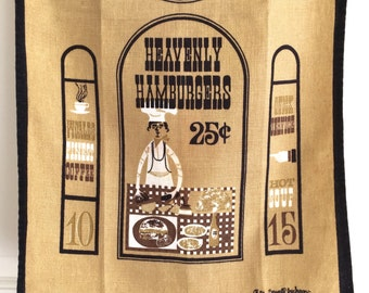 Linen Kitchen Tea Towel Funny Chef Heavenly Hamburgers Sewell Jackson Gift for Cook