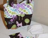 Dolly Diaper Bag in Michael Miller's Pet Deer and Pokadot