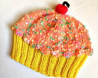 Cupcake Hat Cherry on Top Lemon Yellow Cake Orange Creamsicle Frosting Sprinkles hand knit baby toddler children adult 3 6 9 12 18 months