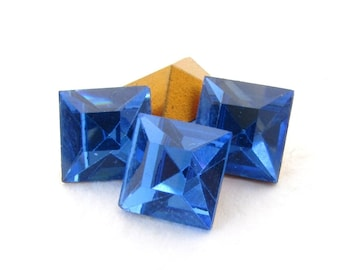 Swarovski Crystal Vintage Rhinestone Sapphire Square Glass Jewel 8mm swa0707 (4)