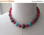SALE Turquoise Coral Beaded Necklace, Orange Blue Beads Choker
