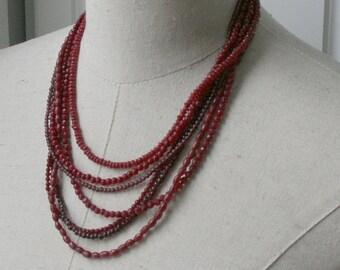 SALE Red Garnet Ruby Small Beads Gemstone Multi Strand Necklace
