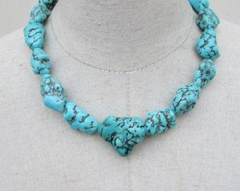 Chunky Single Strand Turquoise Necklace,  Chunk Nugget Blue Aqua Howlite Choker