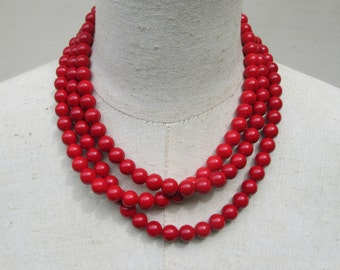 Cherry Red  Scarlet Multi Strand Layered Beaded Necklace
