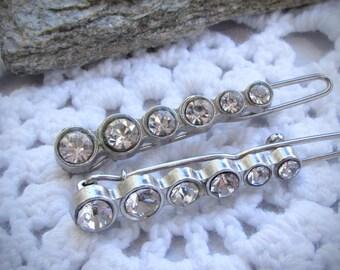 Stunning pair of vintage rhinestone little hair clips