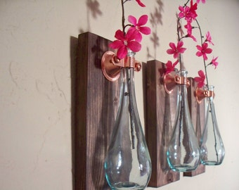 Teardrop bottles trio (3) on wood boards wall decor, kitchen decor, country decor, wedding gift, rustic decor, housewarming gift.