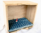 nautical decor, unfinished wood box, kinetic sailboat sculpture, ocean beach art,