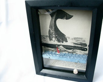 kinetic nautical art, whale and sailboat automaton sculpture, wood shadowbox frame home decor, moby dick illustration