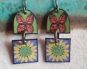 Monarch and Sunflower earrings