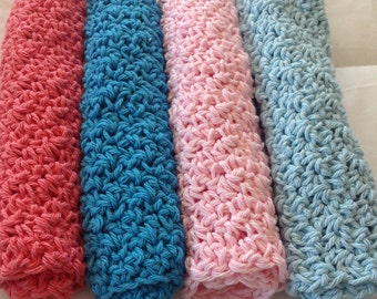 Crochet 100% Cotton Washcloths set of 4