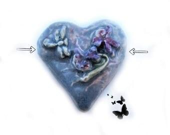 Heart bead, clay heart bead,ceramic heart bead,, Handmade ceramic bead, ,    # 41
