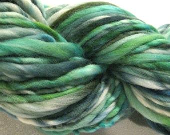 Handspun Yarn, Palmetto 102 yards, hand dyed merino wool, blue, green, white yarn waldorf doll hair, knitting supplies, crochet supplies