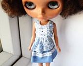 Cornflower Blue sleeveless top and short skirt set for Blythe doll