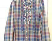 Vintage Laura Mae Shirt, Womens Shirt, Plaid Shirt, Ruffled Shirt, Vintage Clothing, unique clothing, costume, Misses Clothing, Lace Trim