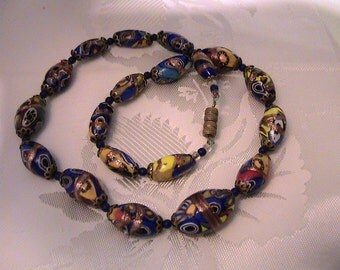 Vintage Italian Venetian Murano Millefiori Art Glass Bead Choker Necklace