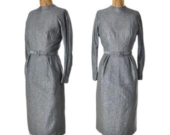 """vintage 60s dress / silver lurex dress / hourglass dress / 1960s dress .. small 27"""" waist"""
