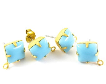 2 pcs - Gold Plated Vintage Glass Stone Earring Posts Loop Ear Studs Earring Finding Square 8x8mm - Turquoise Blue