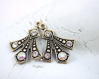 AB Crystal Clear Swarovski Rhinestone Set Stone Art Deco Style Earring Dangle Stamping Drops 20x16mm - 2