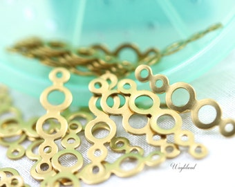 Raw Brass Circles Charms Connectors 23x6mm Geometric Stampings - 8