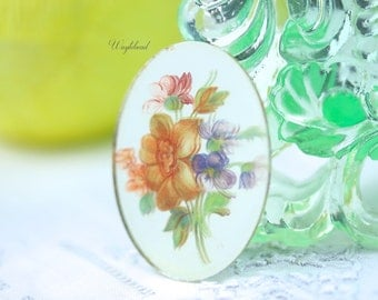 Vintage Glass Oval Mirrored Decal Flower Bouquet Cabochon 40x30mm Orange - 1