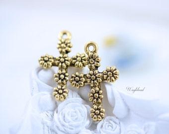 Antique 22K Matte Gold Plated Floral Cross Pendant 14x23mm Metal Casting Charm Flower - 2