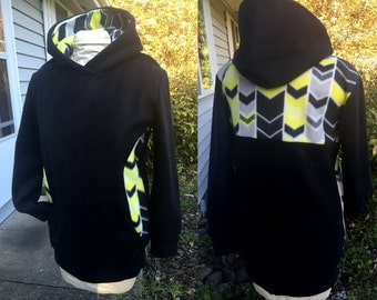 30% SALE - The SIMPLE Pullover Hoodie Sweatshirt Black Yellow Chevron Hourglass Shape- Ready to Ship Sz. Med Warm Cozy Fleece
