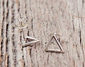 Triangle Post Earrings, Sterling Silver Earrings, Gold Triangle Earrings, Geometric Jewelry, Gifts for Her, Adoption Triad Gift