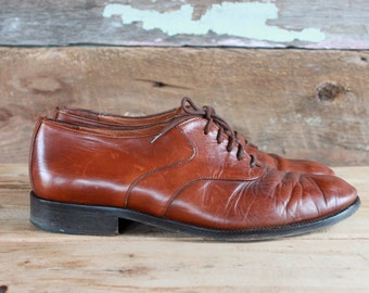 men's brown leather shoes by Bellini Italy / size 43 eur 9 us / leather brogues