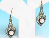 Heart Dangle Earrings Faux Pearls and Garnets Victorian Revival