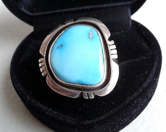 Ring - Native American Sterling Silver And Turquoise Handmade ring