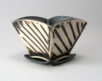 Ceramic Planter-Succulent Planter-Stoneware Planter- Hand Built-Pottery -Textured-Bronze Glaze