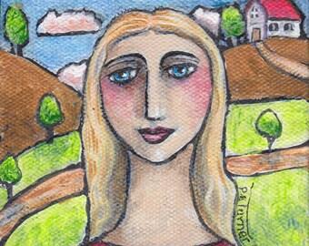 Liz 4x4 mini original acrylic painting folk art