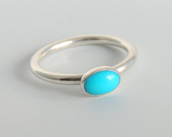 Oval Turquoise Ring Sterling Silver Sleeping Beauty Turquoise Gemstone Solitaire Ring