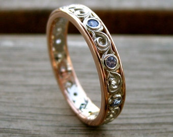 Lavender Tanzanite Wedding Ring with Scroll Work in Two-Tone 14K White & 14K Rose Gold Size 8