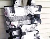 SALE 30% OFF - Knitting Tote Bag, Halloween Ghastlies, 2 Matching Zipper Pouches, SET, Handbag Black White
