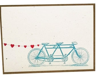Tandem Bike with Heart Banner Card - 5 pack