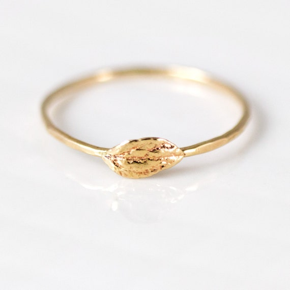 14k Gold Leaf Stacking Ring // Natural Leaf Captured in 14k Gold on a Thin Hammered Band // Nature Inspired Stackable Ring