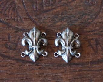 PAIR Antique French Silver Fleur de Lys Bracelet Connectors