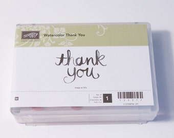 Stampin' Up! Watercolor Thank You wood-mounted rubber stamp