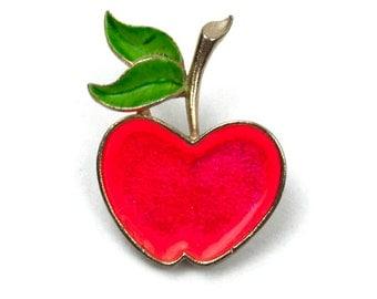 1970s Pop Art  Red and Green Enamel on Gold Tone Metal Apple Vintage Fruit Pin Brooch
