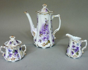 Violet and Butterfly Tea Set