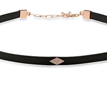 Leather Choker, Diamond Necklace, Diamond Choker, Modern Necklace, Choker Necklace.