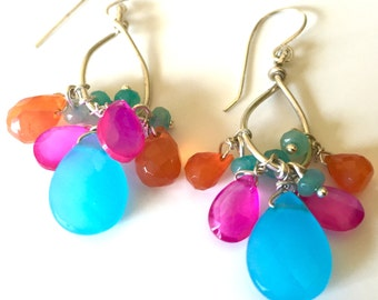 Multi Color Gemstone Earrings, Sterling and Briolette Gem Dangle Earrings
