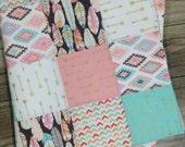Girl Quilt-Aztec Baby Quilt-Baby Quilt-Patchwork Baby Quilt-Personalized Baby Quilt-Modern Baby Quilt-Arrow Baby Quilt-Baby Quilt Etsy