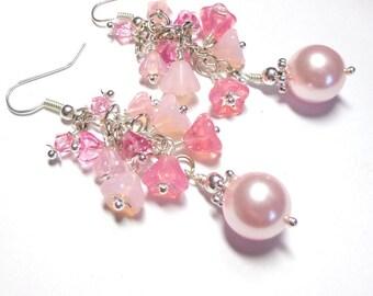 Pink Cluster Earrings, Swarovski Pearl Earrings, Swarovski Crystals, Czech Bell Flowers, Silver
