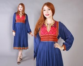 Vintage 70s DRESS / 1970s Ethnic Afghani Embroidered Draped Festival Dress Xs - M