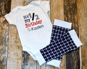 Half Birthday Boy's Personalized Nautical Bodysuit or Tshirt - It's my 1/2 Birthday with Anchors and Leg Warmers