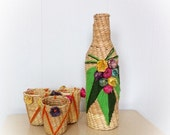 ON SALE Vintage Tiki Bar Straw and Yarn Cup Cozy and Bottle Cover