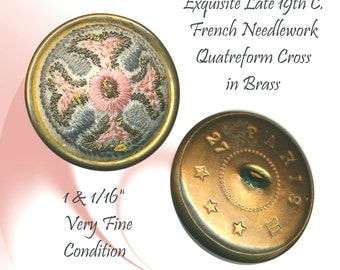 Button--Late 19th C. Paris Back Quatreform or Maltese Cross Needlepoint in Brass
